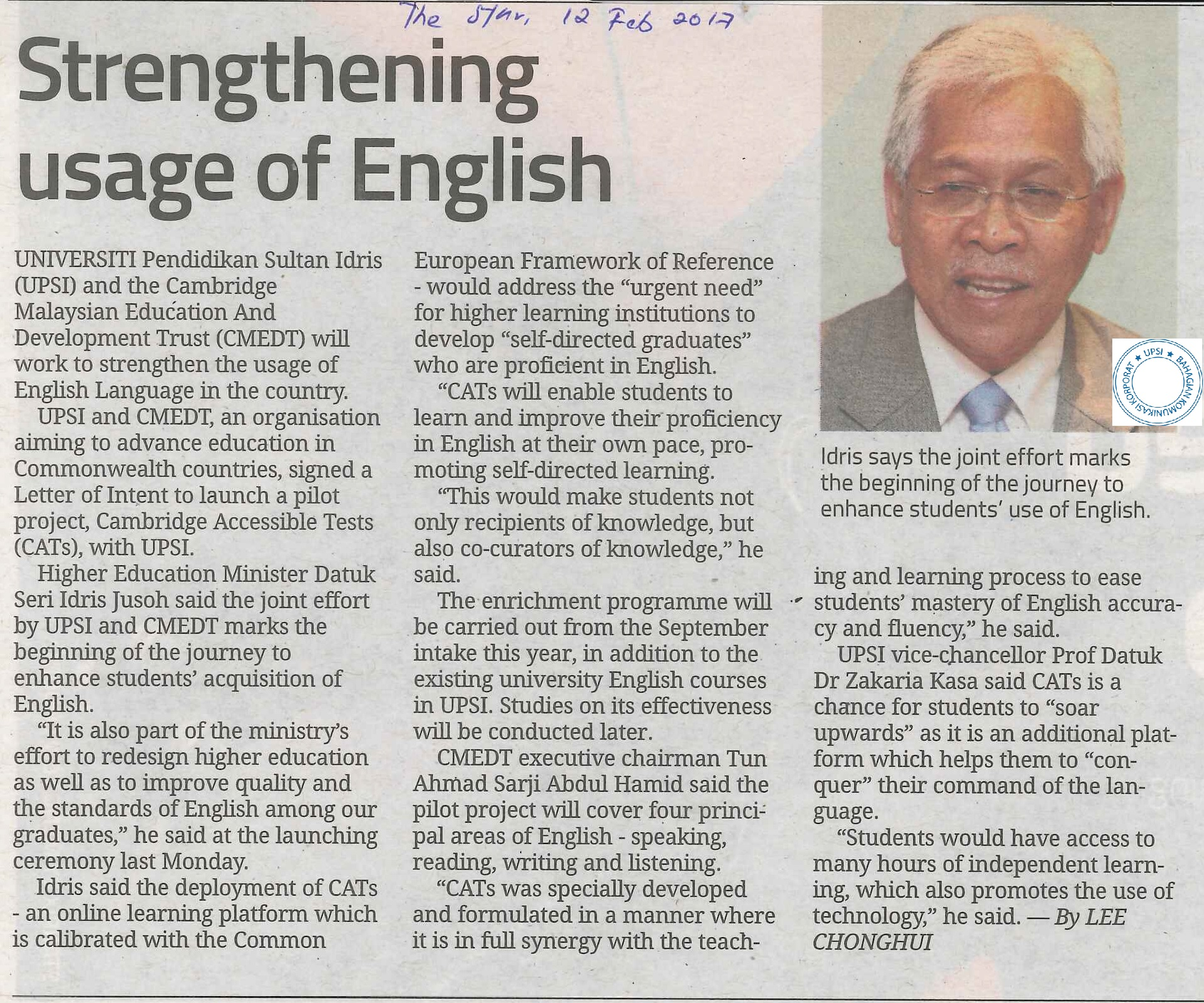 THE STAR ( 12 FEB 2017) ~ STRENGTHENING USAGE OF ENGLISH