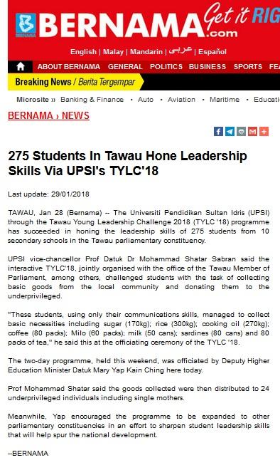 BERNAMA   I      29 JANUARI 2018  ~ 275 STUDENTS IN TAWAU HONE LEADERSHIP SKILLS VIA UPSI'S TYLC 18