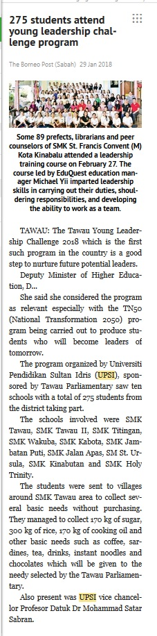 THE BORNEO POST SABAH   I     29 JANUARI 2018    ~  275 STUDENTS ATTEND YOUNG LEADERSHIP CHALLENGE PROGRAM
