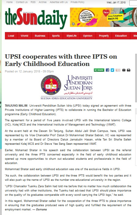 THE SUN DAILY ~ 12 JANUARI 2018 ~ UPSI COOPERATES WITH THREE IPTS ON EARLY CHILDHOOD EDUCATION