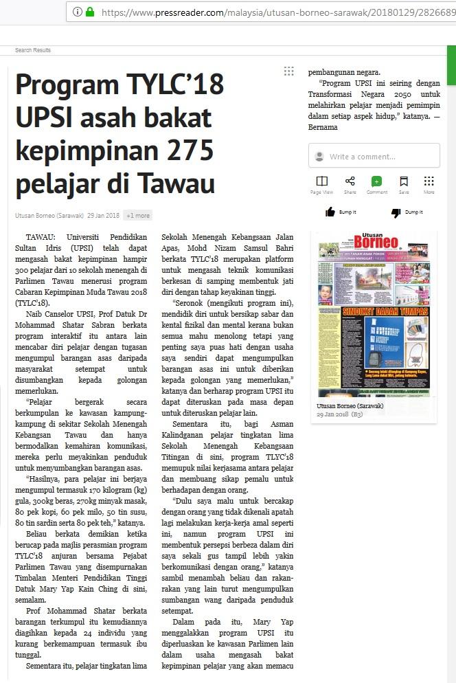 UTUSAN BORNEO SARAWAK     I     29 JANUARI 2018  ~  PROGRAM TYLC 18 UPSI ASAH BAKAT KEPIMPINAN 275 PELAJAR DI TAWAU