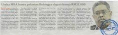 HARIAN METRO   I    5 MAC 2018  ~ USAHA MRA BANTU PELARIAN ROHINGYA DAPAT DERMA RM21,000