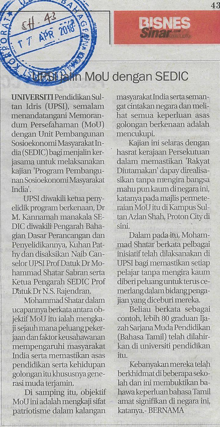 SINAR HARIAN    I     17 APRIL 2018   ~  UPSI JALIN MOU DENGAN SEDIC