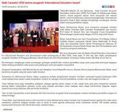 BERNAMA   I  30 JUN  2018  ~ NAIB CANSELOR UPSI TERIMA ANUGERAH INTERNATIONAL EDUCATION AWARD