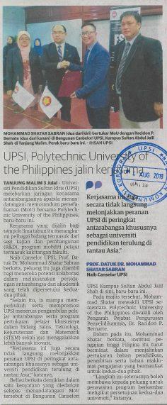 UTUSAN MALAYSIA  I  4 JULAI 2018   I   UPSI, POLYTECHNIC UNIVERSITY OF THE PHILIPPINES JALIN KERJASAMA