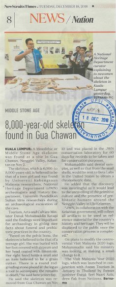 NSTP   I   18 DISEMBER 2018   I    8,000-TEAR-OLD SKELETON FOUND IN GUA CHAWAN