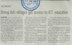 NSTP   I    7 APRIL 2019   I     ORANG ASLI VILLAGES GET ACCESS TO ICT, EDUCATION